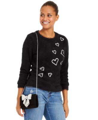 INC Heart-Print Eyelash Sweater, Created For Macy's