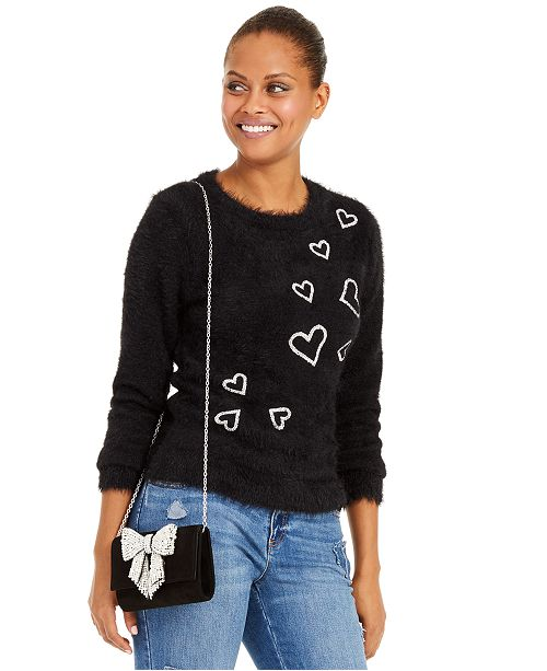 INC International Concepts INC Heart-Print Eyelash Sweater, Created For Macy's