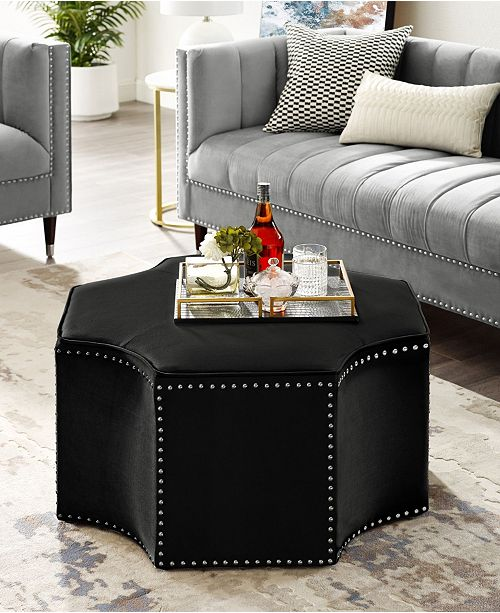 Nicole Miller Fiorella Upholstered Octagon Cocktail Ottoman with Nailhead Trim