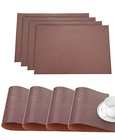 """Faux Leather Pebble Slip Resistant Suede Backing Embossed 3D Surface Luxury 12"""" x 18"""" Place Mats - Set of 4"""