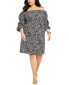 Plus Size Printed Off-The-Shoulder Dress