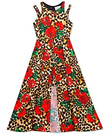 Big Girls Floral & Animal-Print Overlay Dress