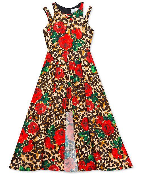 Rare Editions Big Girls Floral & Animal-Print Overlay Dress