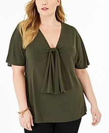 Plus Size Knot-Front Flutter-Sleeve Top