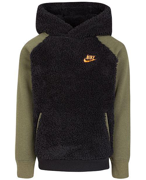 Nike Little Boys Faux Fur Colorblocked Hoodie