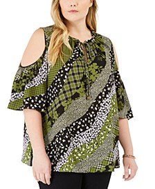 Plus Size Mixed-Print Cold-Shoulder Top