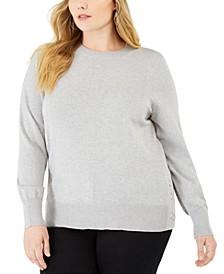 Plus Size Side-Snap Crewneck Sweater