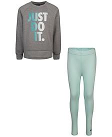 Little Girls 2-Pc. Just Do It Sweatshirt & Leggings Set