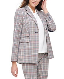 Plaid One-Button Elbow-Patch Blazer
