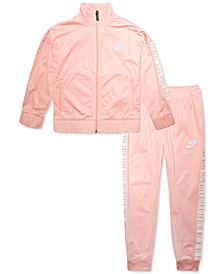 Little Girls 2-Pc. Logo-Taped Tricot Jacket & Pants Set