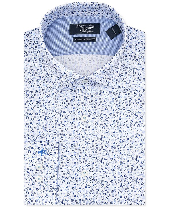 Original Penguin Men's Heritage Slim-Fit Performance Stretch Geo-Print Dress Shirt