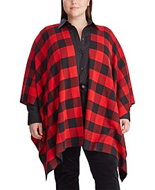 Plus Size Buffalo Check Poncho Sweater