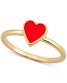 Love Count™ Enamel Heart Ring in 14k Gold-Plated Sterling Silver
