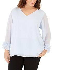 Plus Size Ruffled-Sleeve Top