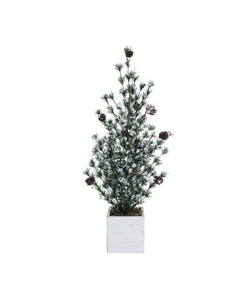 Trans Pac Pinecone Large Green Christmas Frosted Tree with Birch Box
