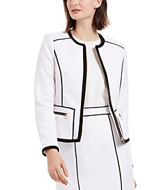 Contrast Piping Zip-Up Blazer