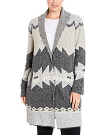 Plus Size Geo-Print Shawl-Collar Coatigan
