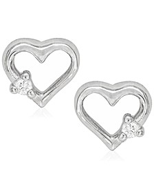 Children's Diamond Accent Heart Silhouette Stud Earrings in Sterling Silver