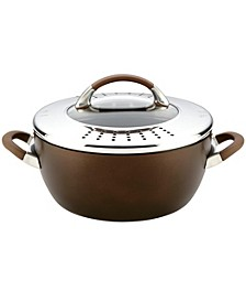 Symmetry Hard Anodized Nonstick 5.5 Qt Casserole with Locking Straining Lid