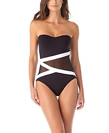 Colorblocked Mesh Strapless One-Piece Swimsuit