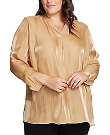 Plus Size Iridescent Split-Neck Top