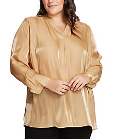 Vince Camuto Plus Size Iridescent Split-Neck Top