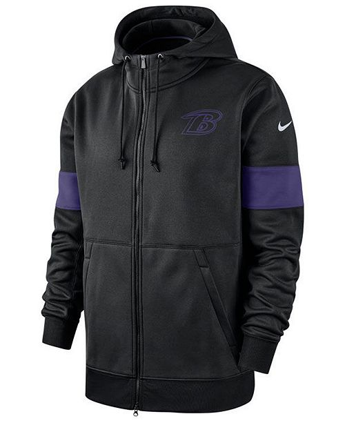 Nike Men's Baltimore Ravens Sideline Full-Zip Therma Hoodie