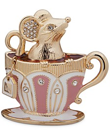 Gold-Tone Pavé Mouse in Teacup Pin