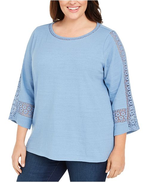 Charter Club Plus Size Crochet-Trim 3/4-Sleeve Cotton Top, Created for Macy's
