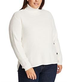 Trendy Plus Size High-Low Turtleneck Sweater