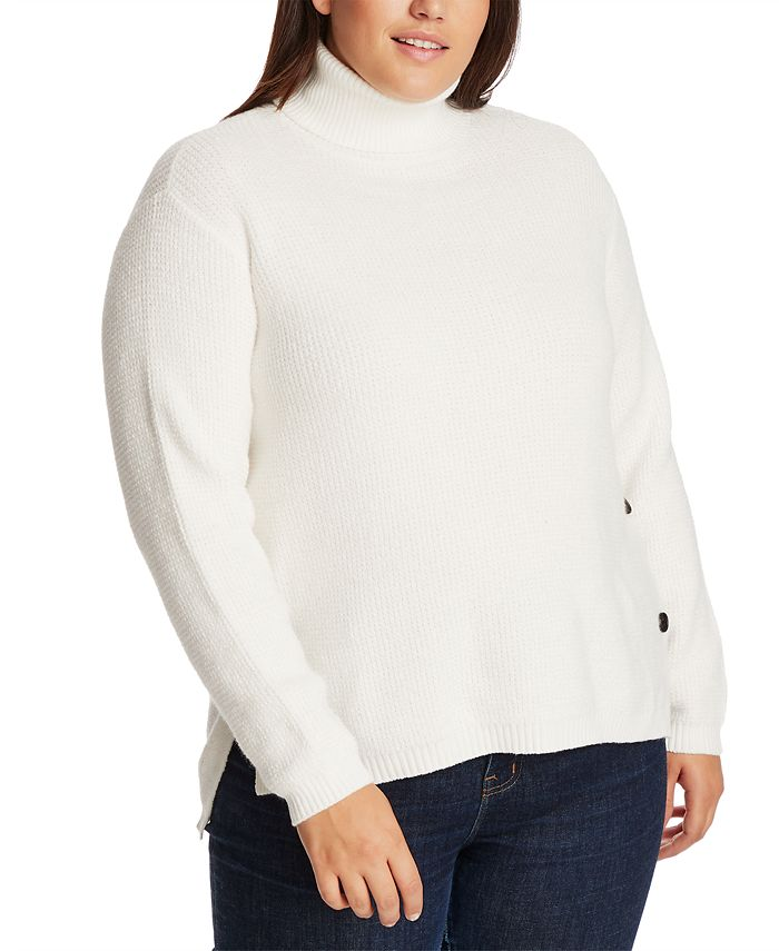 1.STATE - Trendy Plus Size High-Low Turtleneck Sweater