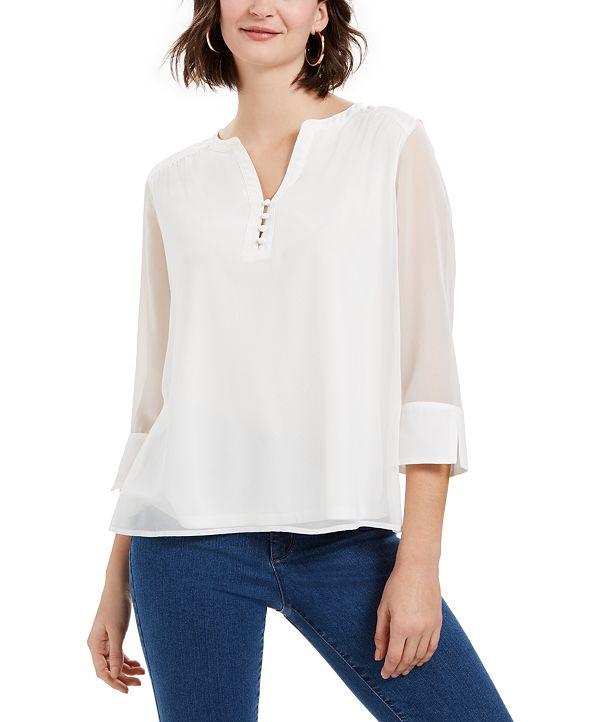 Charter Club Sheer-Sleeve Top, Created for Macy's