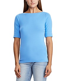 Petite Stretch Cotton Boatneck Top