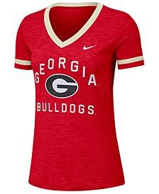 Women's Georgia Bulldogs Slub Fan V-Neck T-Shirt