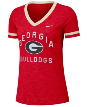 Nike Women's Georgia Bulldogs Slub Fan V-Neck T-Shirt