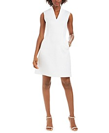 Quilted Maze-Knit Sheath Dress