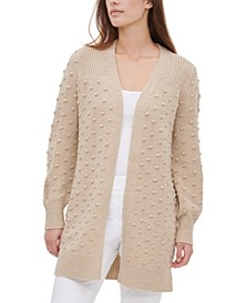 Popcorn-Knit Open-Front Cardigan