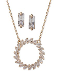 "Gold-Tone Crystal Open Circle Pendant Necklace & Drop Earrings Set, 16"" + 3"" extender"