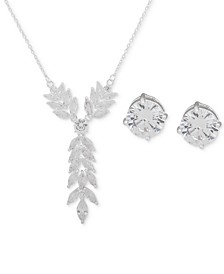 """Silver-Tone Crystal Lariat Necklace & Stud Earrings Set, 16"""" + 3"""" extender"""