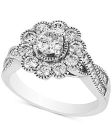 Diamond Round Floral Statement Ring (1 ct. t.w.) in 14k White Gold