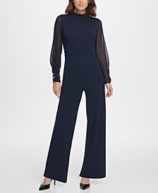 Chiffon Sleeve Mock Neck Jumpsuit