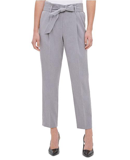 Calvin Klein Tie-Waist Straight-Leg Pants