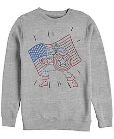 Men's Captain America Neon Line Art, Crewneck Fleece