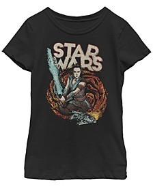 Big Girls Millennium Falcon Galaxy Lightsaber Rey Short Sleeve T-Shirt