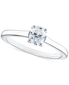 Certified Diamond Oval Solitaire Engagement Ring (1/2 ct. t.w.) in 14k White Gold