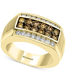 EFFY® Men's Multi-Color Diamond Ring (1-3/8 ct. t.w.) in 14k Gold