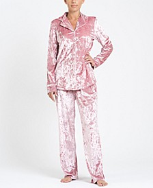 Notch Collar Velvet Pajama Set, Online Only