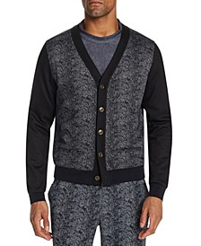 Men's Slim-Fit Stretch Snake Skin Print Cardigan