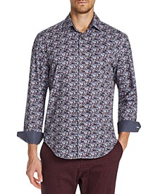 Men's Slim-Fit Performance Stretch Floral Long Sleeve Shirt