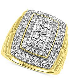Men's Large Diamond Cluster Statement Ring (1-1/2 ct. t.w.) in 10k Gold
